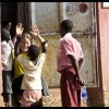 Lisa playing with kids at Myende