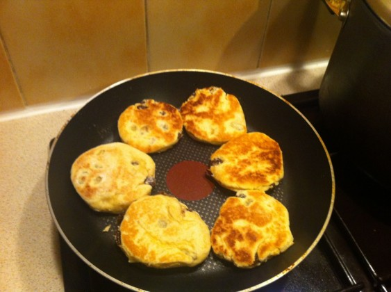 The Welsh Cakes cooking.