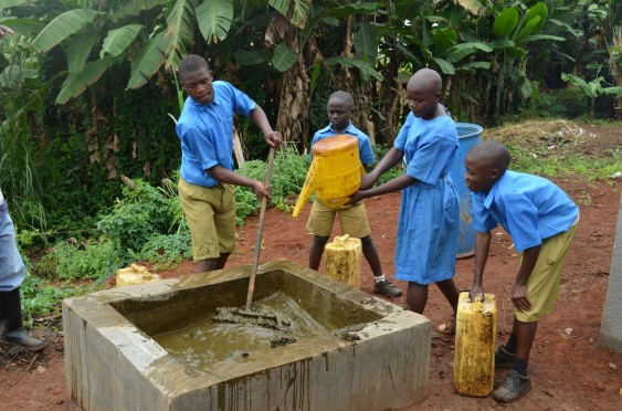 Pupils at Kasiisi Primary School prepare cow dung for the biogas digester.