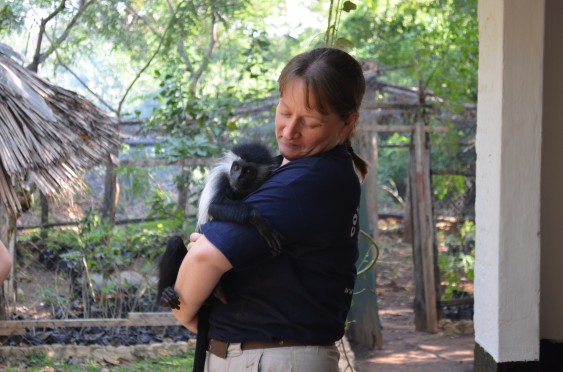 Andrea Donaldson, Conservation Manager at The Colobus Trust, with baby colobus monkey Betsy.